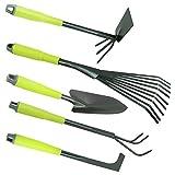 com-four® 5-teiliges Garten-Werkzeug-Set - Gartenset mit Doppelhacke, Kleingrubber,...