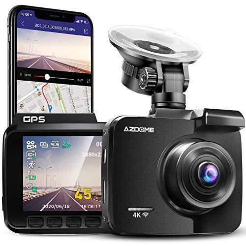 AZDOME 4K WiFi Dashcam mit GPS Autokamera mit 170° Weitwinkelobjektiv, Nachtsicht,...