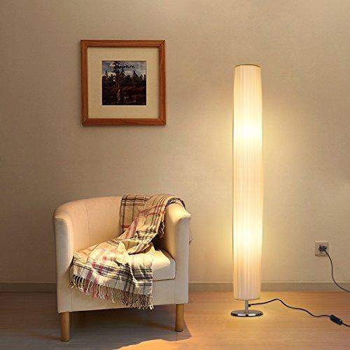 Albrillo Design Stehlampe - Moderne Stehleuchte mit Tube Lampenschirm und Edelstahl Basis,...