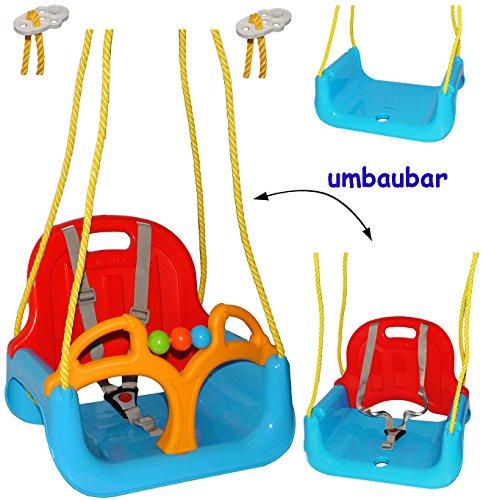 alles-meine.de GmbH mitwachsende - Babyschaukel / Gitterschaukel mit Gurt - ROT / GELB /...