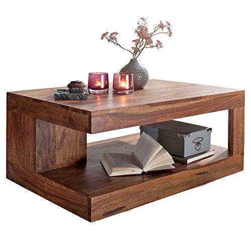 FineBuy Couchtisch Massiv-Holz Sheesham 90 cm breit Wohnzimmer-Tisch Design dunkel-braun...