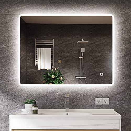 s'bagno 600 x 800 mm Badspiegel - LED beleuchteter Badezimmerspiegel [IP44 Rated]...