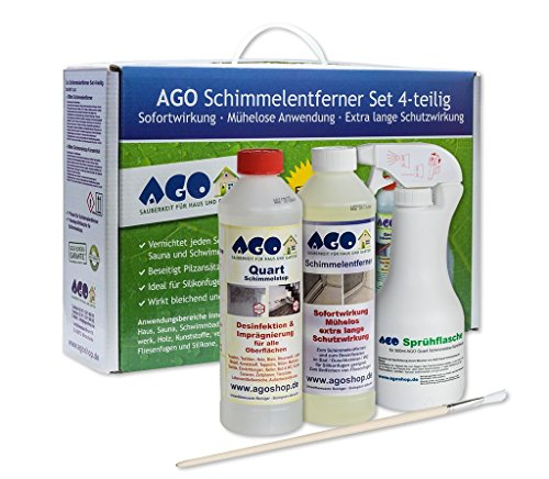 AGO® Anti Schimmel Imprägnierung Set 4-TLG I Je 1x Schimmelentferner Schimmelstop...