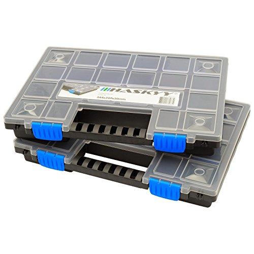 2x XL Organizer Sortimentskasten Sortierbox stapelbar 345x249x50mm I Kleinteilemagazin I...