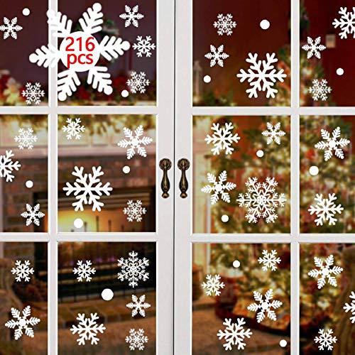 CMTOP 216 PCS Schneeflocken Weihnachten Fenstersticker Weihnachten Fensterbilder...