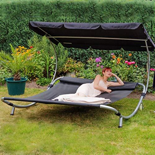 Loywe Sonnenliege Doppelliege mit Dach für 2-Personen Doppel Gartenliege mit Sonnendach...