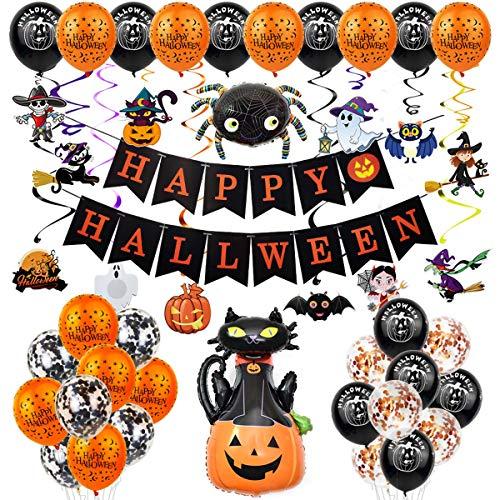 Ninevi Eastor Halloween Ballons, Happy Halloween Banner, Halloween Luftballons Deko,...
