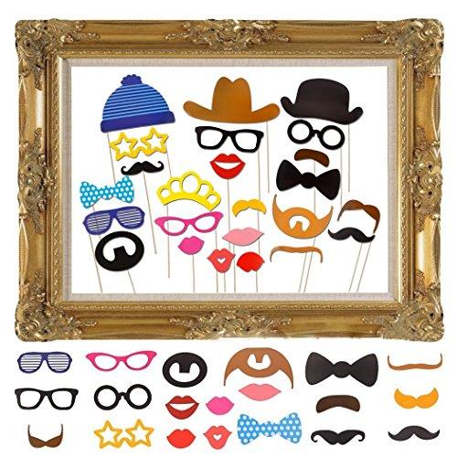 JZK 25 Photo Booth Props mit Rahmen, Brillen Lippen Krawatte Masken Hut Foto Requisiten...