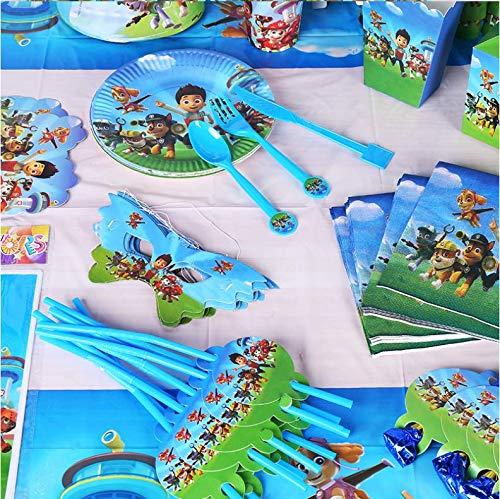 YNK Geburtstagsfeier Party Zubehör, 97 Stück Paw Patrol Partyzubehör Set für Kinder,...