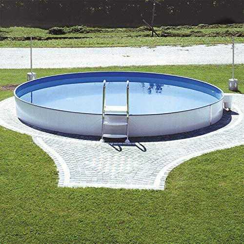 Steinbach Styriapool rund Ø 350 x 120 cm, Pool, Einhängebiese, Stahlmantel, Handlauf,...