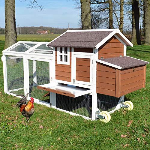 Große Hühnervoliere Mobi - mit Rollen zum leichten Umstellen - Hühnerstall aus massivem...