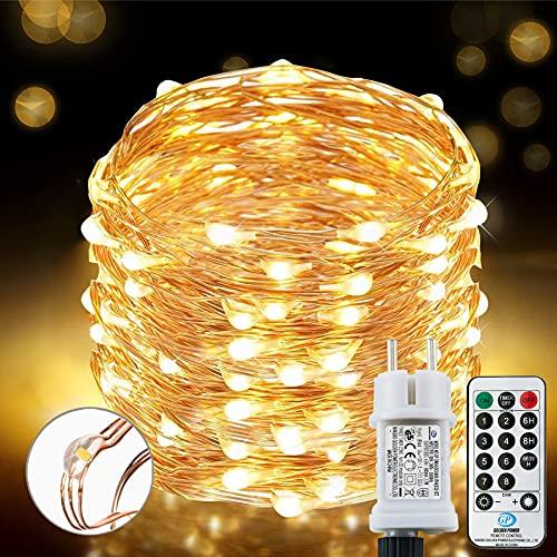 [220 LED] Lichterkette, 25M 8 Modi lichterkette außen strom lichterketten wasserdicht...