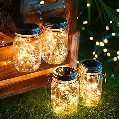 Solarlampen für außen,4Stück 30 LED Lichterkette im Glas Laterne Warmweiß,...