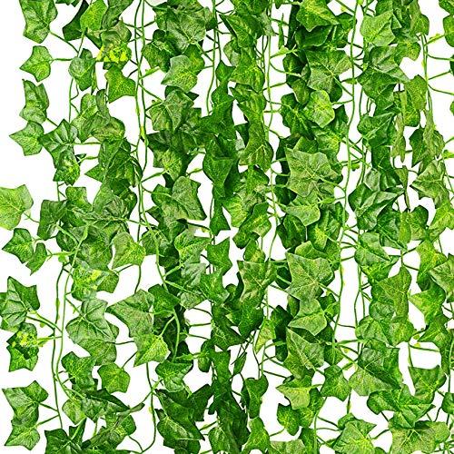 KASZOO® Efeu Künstlich Girlande, 12 Stück Grün Efeu mit Nylon Kabelbinder Pflanzen...
