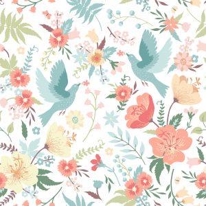Vögel mit Blumen, eine tolle Idee zur Auffrischung einer Wohnung. Foto Lisla via Depositphotos.
